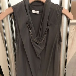 Authentic Brunello Cucinelli grey silk blouse